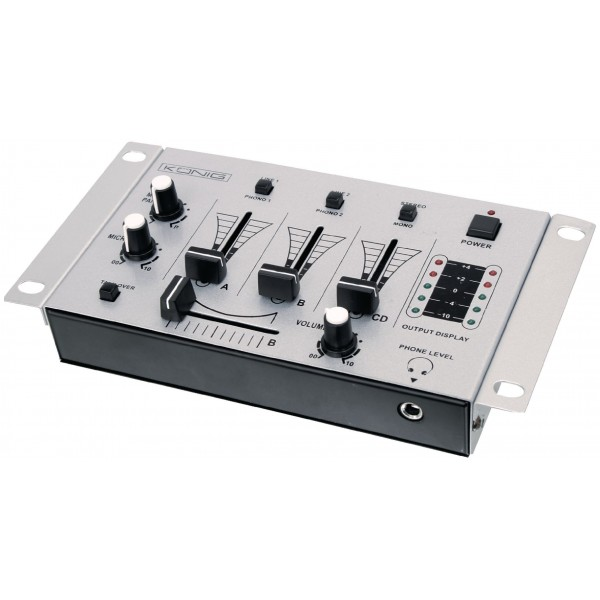 Mixer audio stereo 3 canali + 2 ingressi microfonici