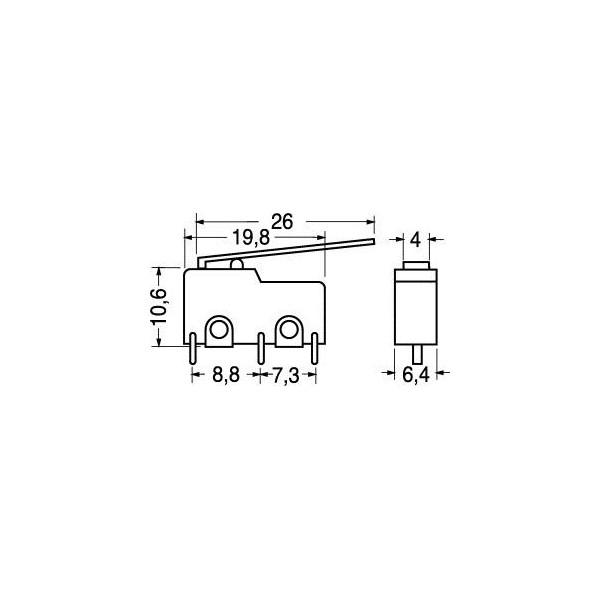 Deviatore finecorsa miniatura CS con leva lunga 26mm