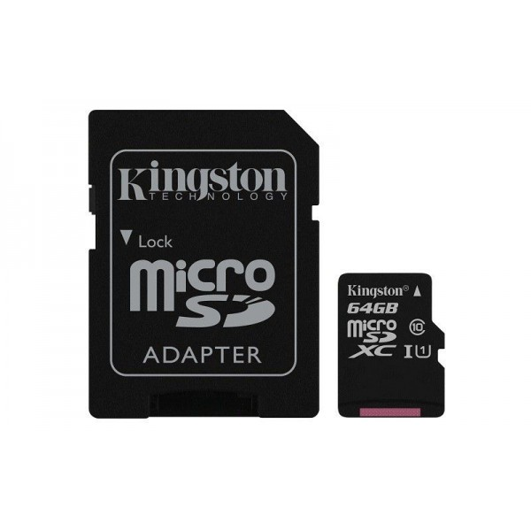 Micro SD HC kingston 64GB classe 10 con adattatore