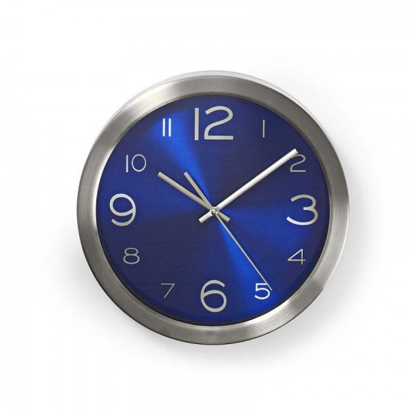 Round blue wall clock 30cm