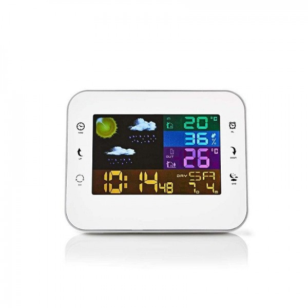 White barometric station with wireless outdoor sensor