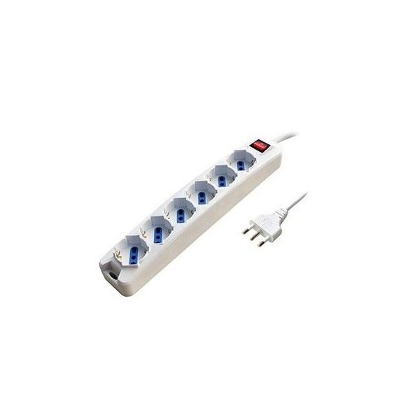 6 schuko white multiple socket with 3mt cable switch