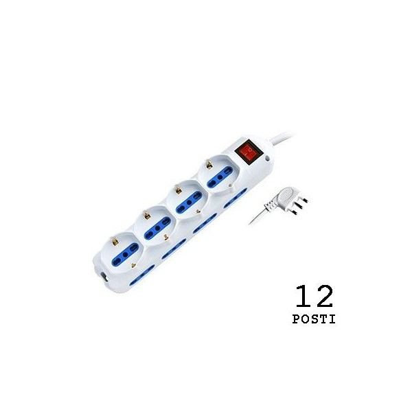 White multiple socket 4 schuko + 8 10 / 16A sockets with switch