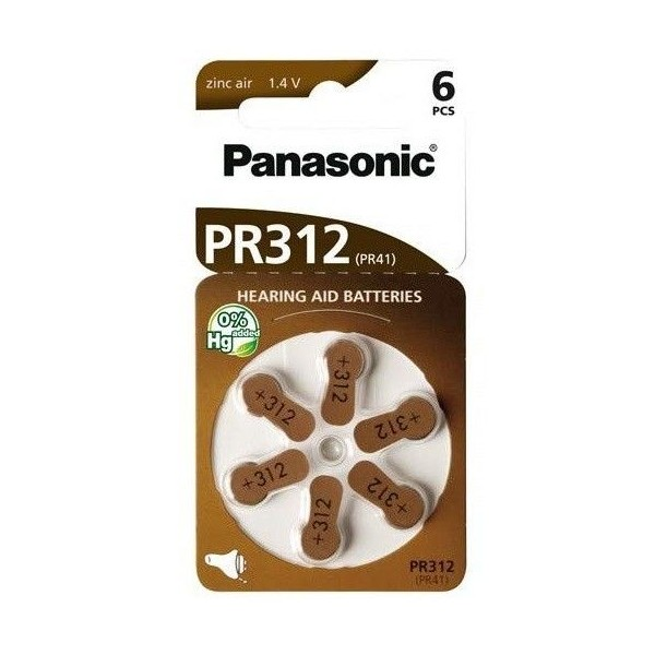 Panasonic PR312 6pcs zinc air battery pack