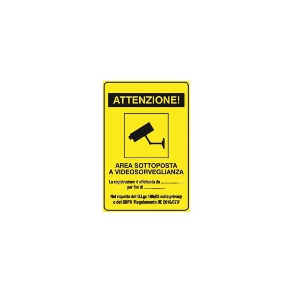 Yellow video surveillance sticker 18x12