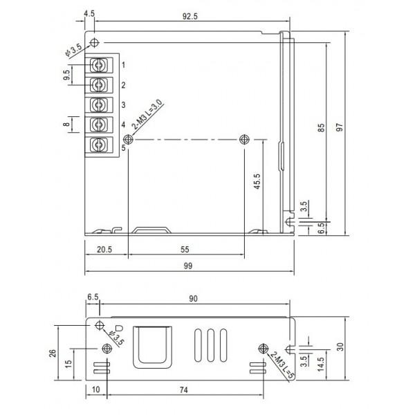 Professional 12V DC 6A power supply LRS-75-12
